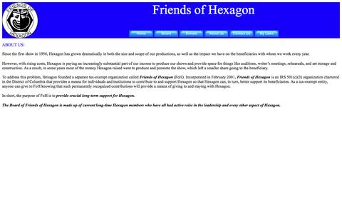Screenshot of About Page friendsofhexagon.org - Friends of Hexagon - About Us - captured June 1, 2016