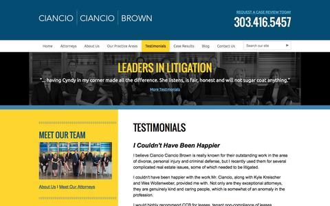 Screenshot of Testimonials Page colo-law.com - Ciancio Ciancio Brown, P.C. - captured Jan. 28, 2016