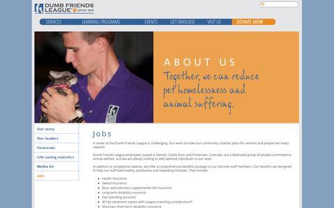 Screenshot of Jobs Page ddfl.org - Jobs   Dumb Friends League - captured Sept. 22, 2014