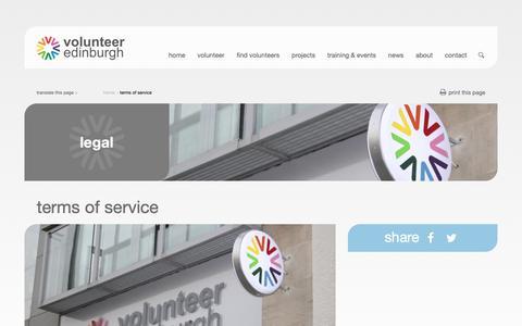 Screenshot of Terms Page volunteeredinburgh.org.uk - terms of service - Volunteer Edinburgh - captured Oct. 20, 2018