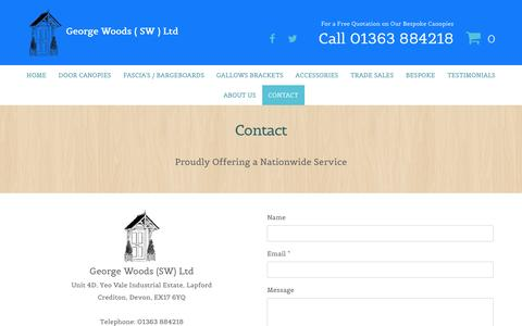 Screenshot of Contact Page timberdoorcanopies.co.uk - Canopies | Contact - Crediton, Devon - captured Nov. 5, 2016