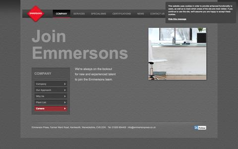 Screenshot of Jobs Page emmersonpress.co.uk - Careers - Company - Emmersons Press: The complete print service for a diverse range of business sectors. Our extensive portfolio of print services give our customers a comprehensive solution for all their printed material requirements. - captured Oct. 2, 2014
