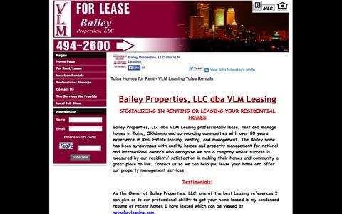 Screenshot of Home Page vlmleasing.com - VLM Leasing, Tulsa Oklahoma  Tulsa Homes for Rent - VLM Leasing Tulsa Rentals - captured Oct. 5, 2014