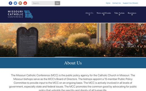 Screenshot of About Page mocatholic.org - About Us | Missouri Catholic Conference - captured Nov. 15, 2018