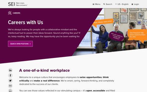 Screenshot of Jobs Page seic.com - Careers | SEI - captured Jan. 16, 2018