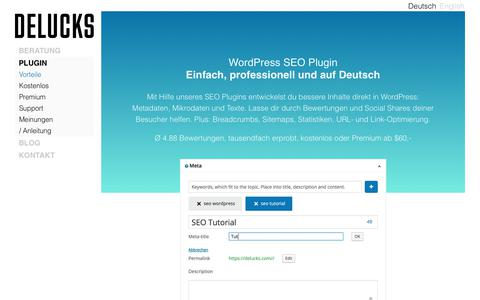 Screenshot of Support Page delucks.com - WordPress SEO Plugin DELUCKS - captured Aug. 9, 2018