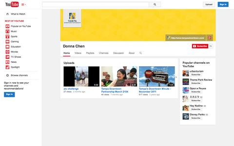 Screenshot of YouTube Page youtube.com - Donna Chen  - YouTube - captured Oct. 26, 2014