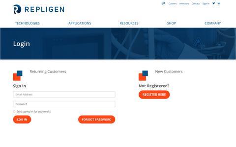Screenshot of Login Page repligen.com - Login :: Repligen - captured March 14, 2019