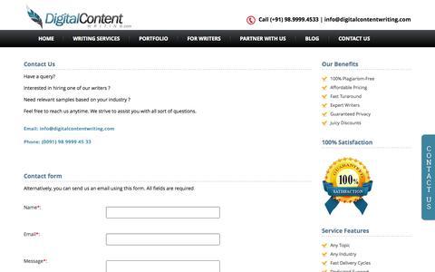 Screenshot of Contact Page digitalcontentwriting.com - Contact Us - captured Sept. 30, 2014