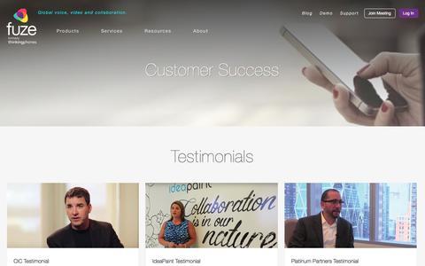 Screenshot of Testimonials Page fuze.com - Customer Success   Fuze - captured March 19, 2016