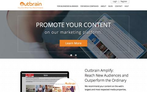 Screenshot of Home Page outbrain.com - Outbrain - The Most Trusted Content Discovery Platform - captured Dec. 16, 2015