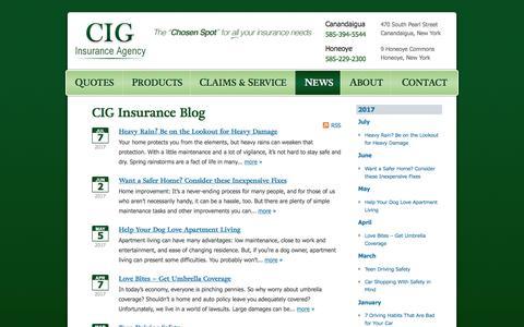 Screenshot of Press Page insurecig.com - CIG Insurance Agency News | CIG Insurance Agency in Canandaigua, New York - captured July 9, 2017