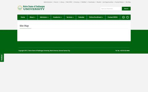 Screenshot of Site Map Page nddu.edu.ph - Site Map   Notre Dame Of Dadiangas University - captured May 30, 2016