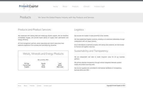 Screenshot of Products Page primestcapital.com - Products   Primest Capital - captured Sept. 30, 2014