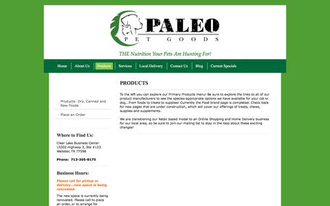 Screenshot of Products Page paleopetgoods.com - Paleo Pet Goods, LLC (formerly Pride Purr-fect), Natural and Organic Pet Foods for Dogs and Cats. - Products - captured Jan. 25, 2016