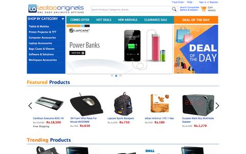 Screenshot of Home Page laptoporiginals.com - Online eCommerce Shop India - Laptop Original Accessories, Computer Peripherals, Tablet Add-on, Battery & Adapter, Power Banks, Keyboard and Mice, Backpack, EHDD, Pendrives, Privacy Filter, Networking Devices at LaptopOriginals.com - captured Sept. 30, 2014