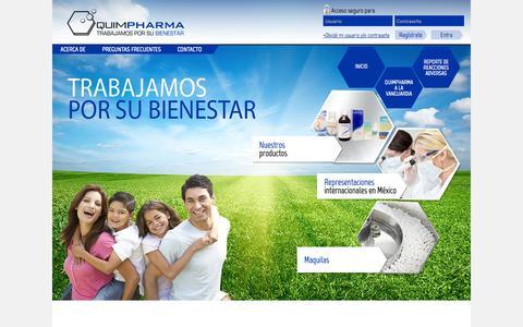 Screenshot of Home Page quimpharma.com.mx - Principal   QuimPharma - captured Oct. 1, 2014