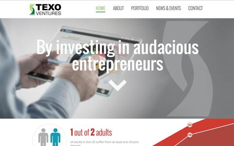 Screenshot of Home Page texoventures.com - TEXO Ventures: Building Innovative Healthcare Companies - captured Sept. 30, 2014