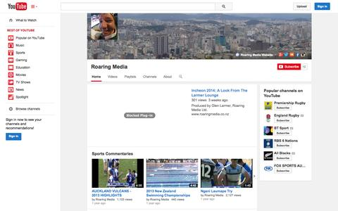 Screenshot of YouTube Page youtube.com - Roaring Media  - YouTube - captured Nov. 5, 2014