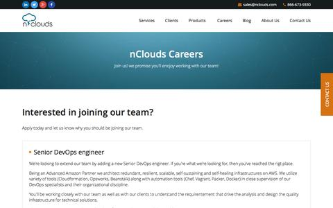 Screenshot of Jobs Page nclouds.com - nClouds - DevOps Solutions and Amazon Web Services Consulting and Management - captured Feb. 22, 2016