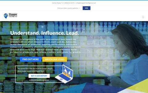 Screenshot of Home Page shopperintelligence.com - Shopper Intelligence – Understand. Influence. Lead. - captured Oct. 3, 2018