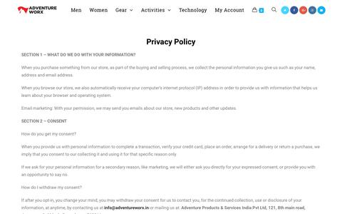 Screenshot of Privacy Page adventureworx.in - privacy-policy - Adventure Worx - captured Oct. 3, 2018