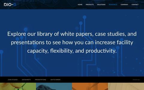 Screenshot of Case Studies Page bio-g.com - Bio-G / Resources - captured Oct. 10, 2017