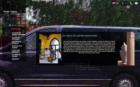 Screenshot of Services Page riadslotus.com - Cours de Cuisine Marocaine : Riads Lotus Marrakech - captured Oct. 3, 2014