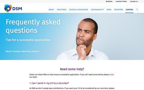 Screenshot of FAQ Page dsm.com - Career FAQs | DSM - captured Jan. 15, 2020