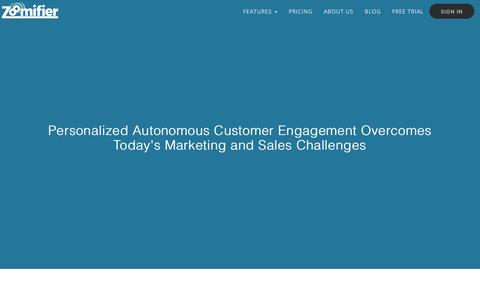 Screenshot of About Page zoomifier.com - Personalized Autonomous Customer Engagement - Zoomifier - captured Feb. 3, 2018