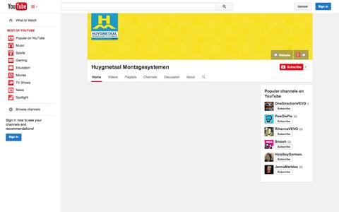 Screenshot of YouTube Page youtube.com - Huygmetaal Montagesystemen  - YouTube - captured Oct. 23, 2014