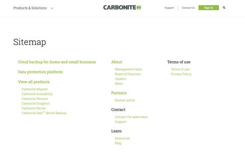 Screenshot of Site Map Page carbonite.com - Site Map - captured Nov. 16, 2018