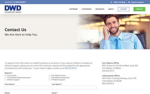 Screenshot of Contact Page dwdtechgroup.com - Contact | DWD Technology Group - captured May 12, 2019