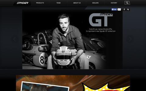Screenshot of Home Page Products Page spyder.com - Spyder - captured Sept. 23, 2014