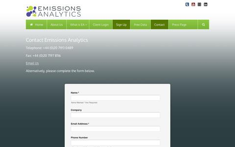 Screenshot of Contact Page Signup Page emissionsanalytics.com - Contact Emissions Analytics | Emissions Analytics | Emissions Data Products - captured Dec. 9, 2015