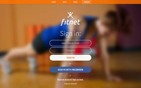 Screenshot of Login Page fit.net - Fitnet - Video Fitness Trainer | Realize Your Goals - captured Sept. 25, 2015