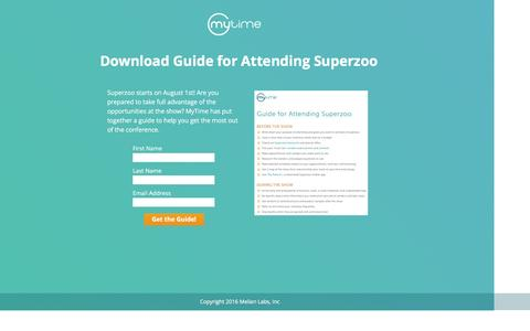 Screenshot of Landing Page mytime.com - Superzoo Guide for Attendees - captured Aug. 18, 2016