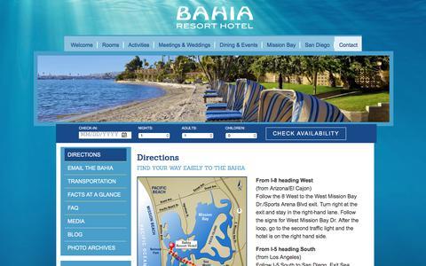 Screenshot of Maps & Directions Page bahiahotel.com - Directions | Bahia Resort Hotel - captured June 22, 2017