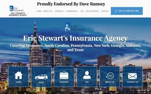 Screenshot of Home Page ericinsures.com - Commercial Insurance Franklin   Business Insurance TN   Life Insurance 37064 - Eric Stewart's Insurance Agency - captured Nov. 9, 2016