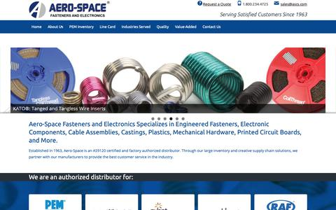 Screenshot of Home Page ascs.com - Aero-Space Computer Supplies - Minneapolis, Minnesota | Engineered Fasteners, Electronic Components, Cable Assemblies, Aero-Space, Industry - captured Oct. 3, 2018