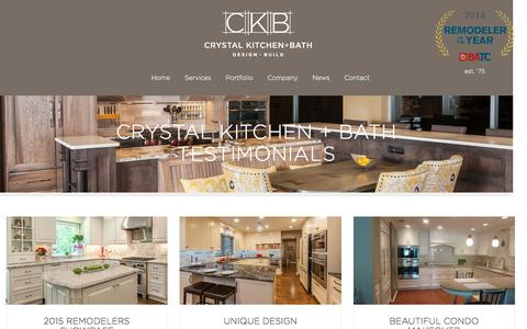 Screenshot of Testimonials Page crystalkitchen.com - Crystal Kitchen + Bath Testimonials - Crystal Kitchen + Bath - captured Nov. 14, 2016