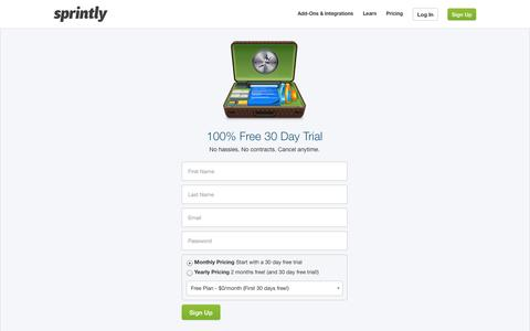 Screenshot of Signup Page sprint.ly - Make beautiful products - sprint.ly - captured Sept. 25, 2014