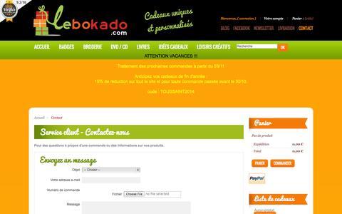 Screenshot of Contact Page lebokado.com - Contactez-nous - Lebokado - captured Oct. 27, 2014