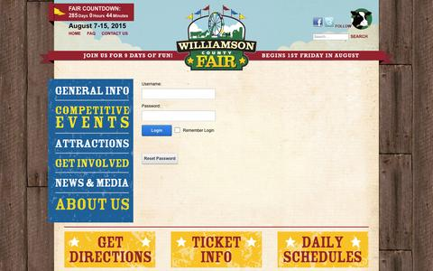 Screenshot of Login Page williamsoncountyfair.org - User Log In - captured Oct. 26, 2014