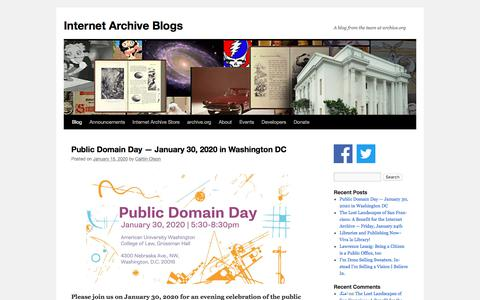 Screenshot of Blog archive.org - Internet Archive Blogs | A blog from the team at archive.org - captured Jan. 20, 2020