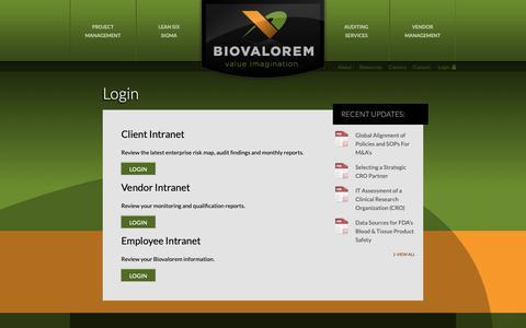 Screenshot of Login Page biovalorem.com - Login | Biovalorem - captured Nov. 6, 2018