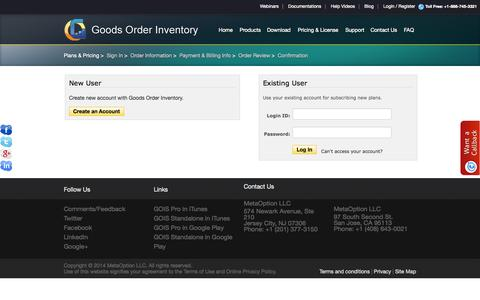 Screenshot of Login Page goodsorderinventory.com - GOIS PRO- Product | Inventory Management apps - Sign In - captured Oct. 6, 2014
