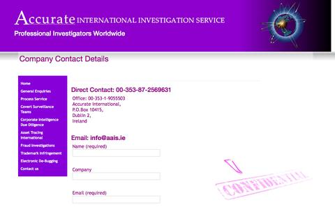 Screenshot of Contact Page detectiveagency.ie - Accurate International Investigation Service - Company Contact Details - captured Feb. 5, 2016