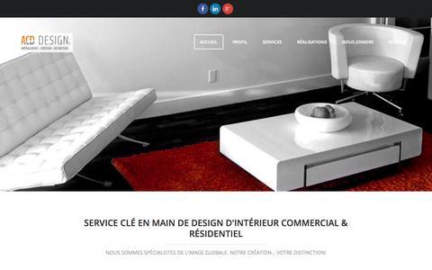 Screenshot of Home Page acd-design.ca - Design d'intérieur commercial et résidentiel - Designer Québec | ACD Design - captured Sept. 30, 2014