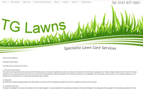 Screenshot of Terms Page tglawns.co.uk - Terms of Use - Lawn Care Wirral - Lawn Treatment - Grass Cutting - TG Lawns - Specialist Lawn Care Services - Wirral lawn treatment - Garden Moss Control - Tel 0151 677 3001 - captured Oct. 26, 2014